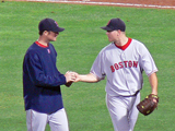 Papelbon hands the game ball to Lester